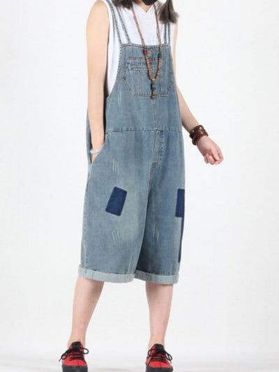 Casual on Cue Cropped Overalls Dungaree