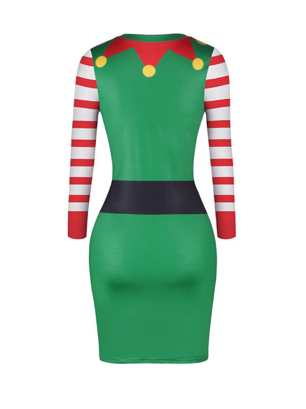 Priscilla Round Neck Green Buttocks Midi Dress