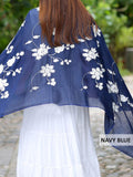 Ethnic Retro Style Embroidery Linen Scarf
