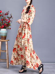 Chance Mating Floral Print Robe Maxi Dress