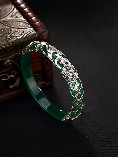 Natalie Vintage Clover Silver Jade Inlay Bangle