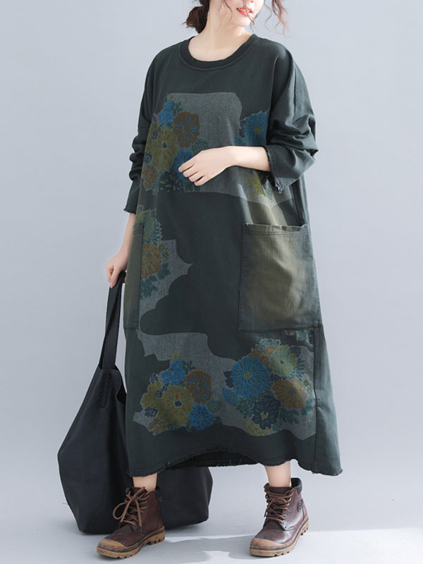 Dora Round Neck Ethnic Sweatshirt Dress with Loud Pockets