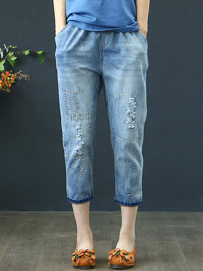 Stitched Denim Pants
