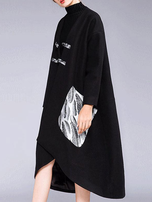 High Quality Oriental Printed Pocket Wrap Coat