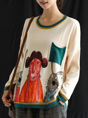 genuinely heartfelt Cartoon Print Single Pocket Sweater Top