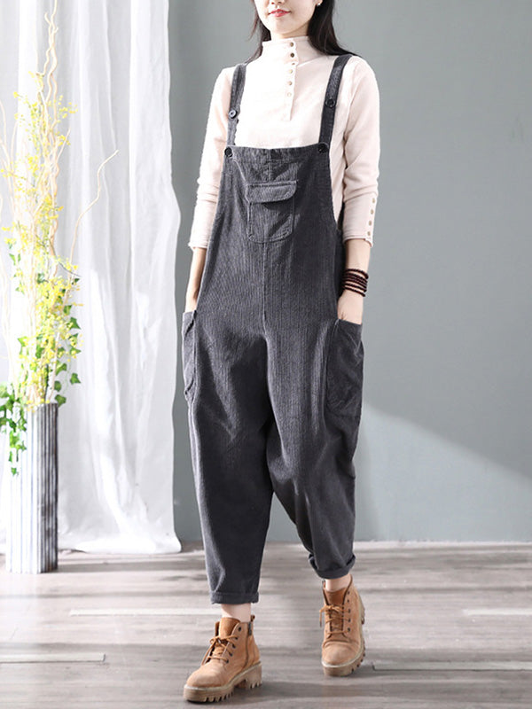 Big Pocket Corduroy Bright Overalls Dungarees