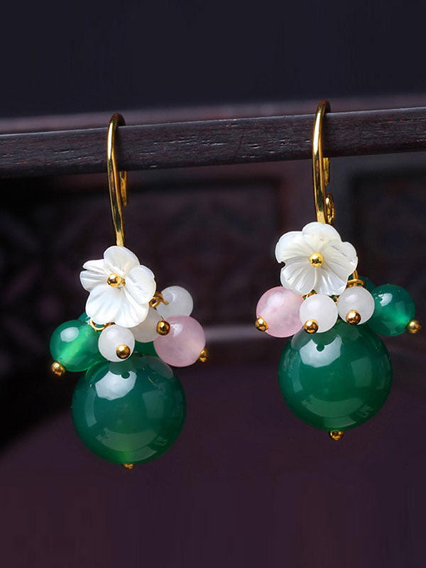 Small Flower Green Agate Earrings