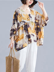 Key to Heart Floral Print Basic Top