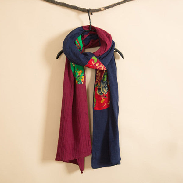 Vintage Cotton Two Colored Scarf