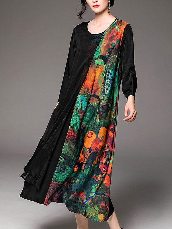 Kendra Round Neck Silk Vintage Ethnic A-Line Dress