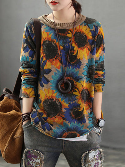 Bloomed Sun Flower Cotton Sweater