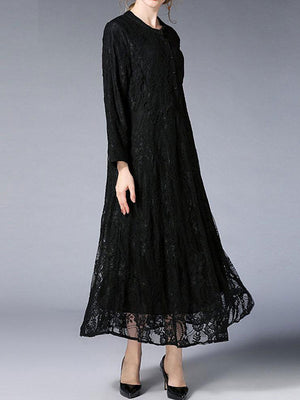 Russian Blossom Swing Smock Lace Dress