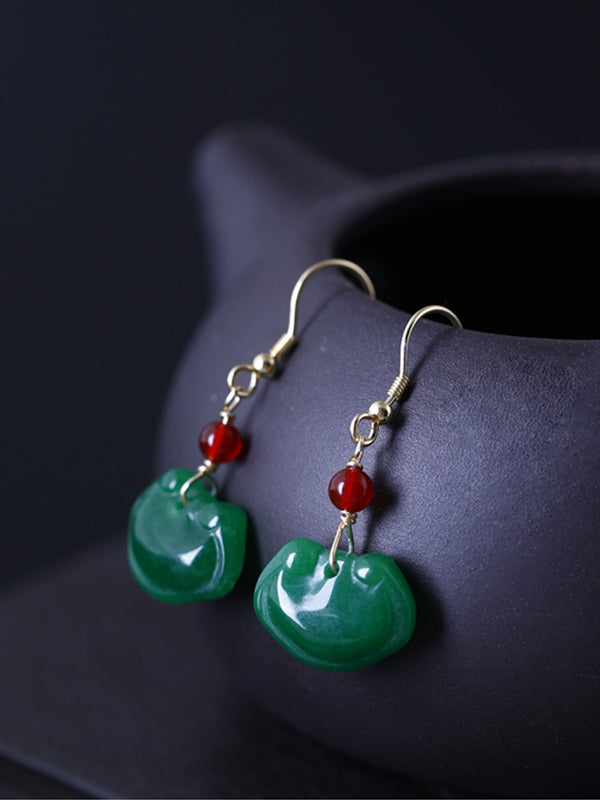 Holly Fortune Lock Vintage Jade Earrings with Agate