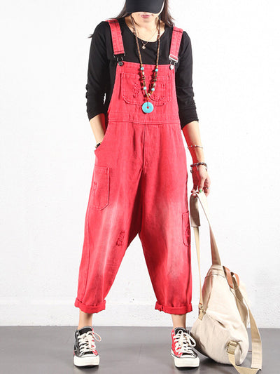 Cropped Adjustable Strap Overalls Dungarees with Pocket