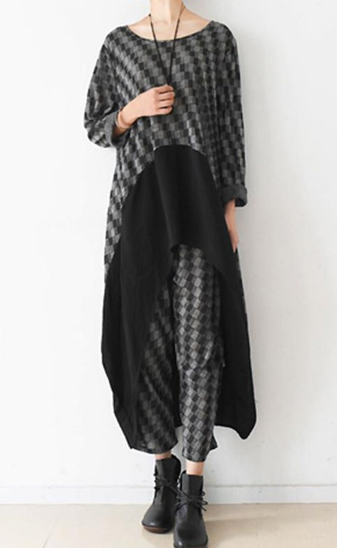 Lattice Irregular Loose Long Dress & Pant