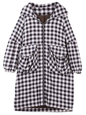Basic Tartan Hooded Coat