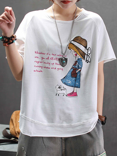 Valerie Cartoon Embroidery T-Shirt
