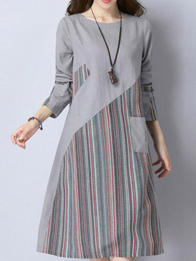 Gradient Stipes A-Line Dress