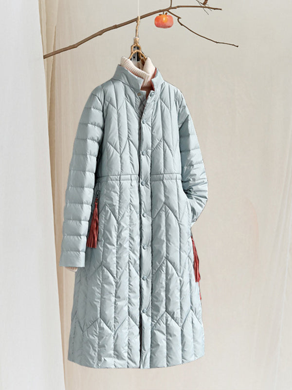 Shannon Stand Neck Simplicity Quilted Down Overcoat with Pocket Tassels
