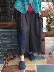 Gone Sailing Cropped Patch Work Wide-Leg Linen Pants