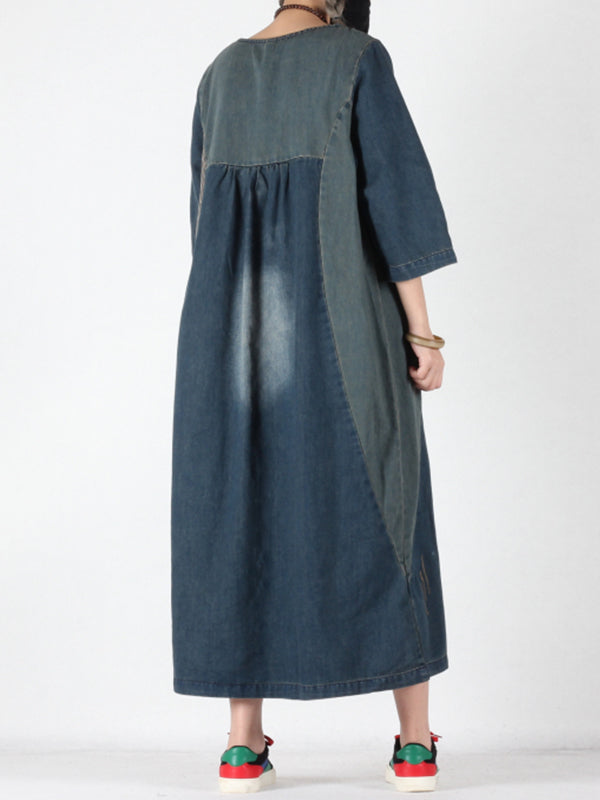 Kathryn Abrasion Vintage Joint Denim Blue Shift Dress