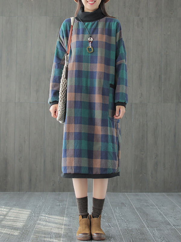 Maxine High Neck Linen & Cotton Quilted Midi Dress with Plaids Prints