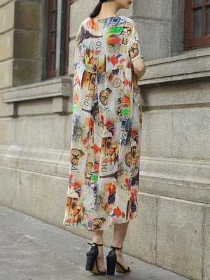 Stamp Print Shift Dress