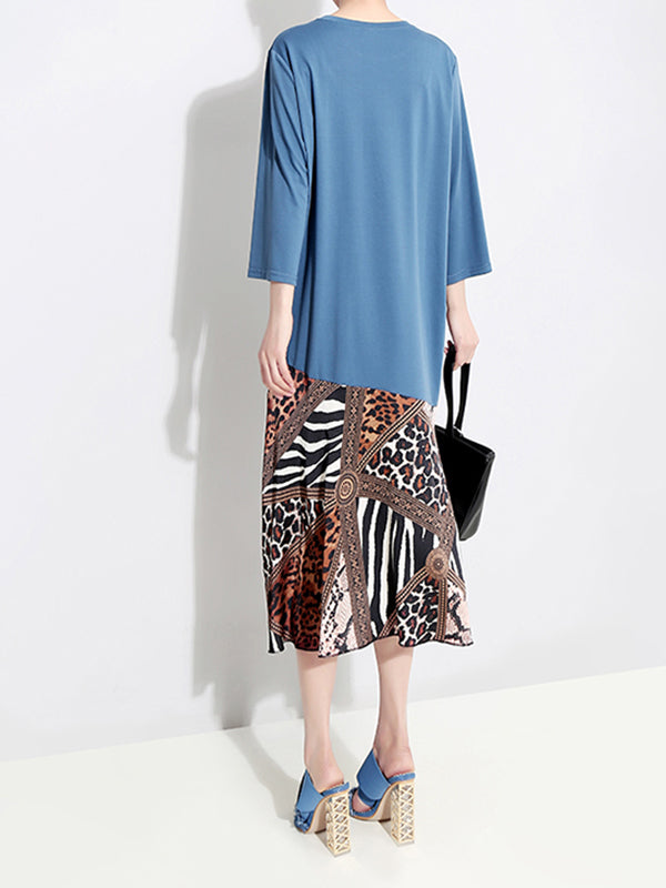 Aamu Round Neck Joint Leopard Chiffon Baggy Midi Dress