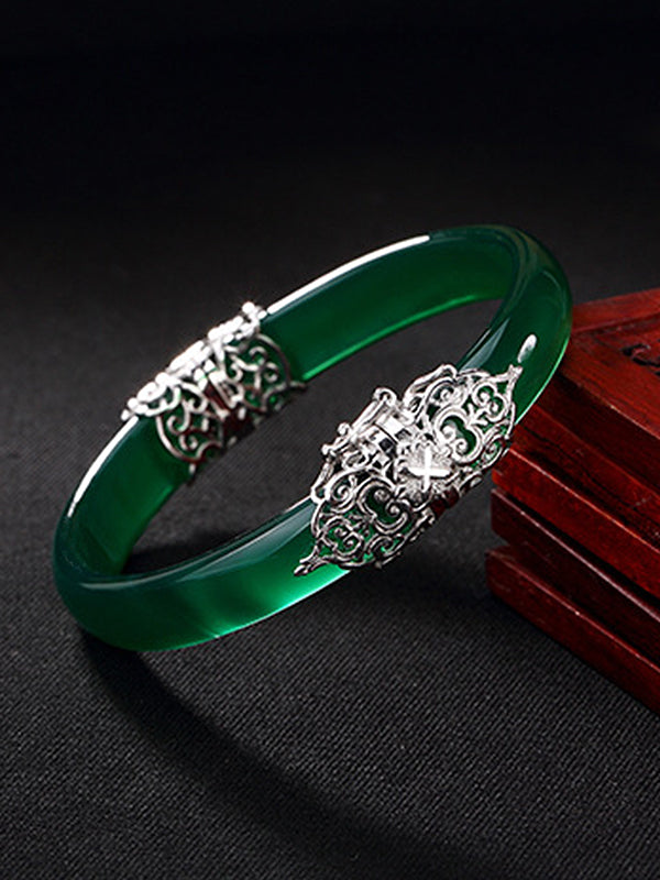 Agnes Vintage Jade Bangle with Silver Inlay
