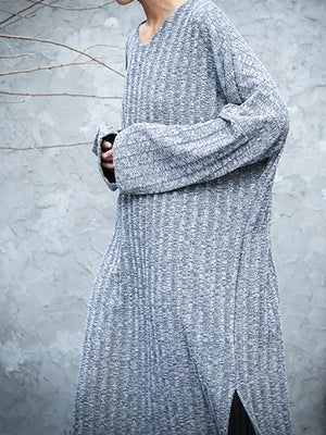 Side Slit Knitted Sweater Dress