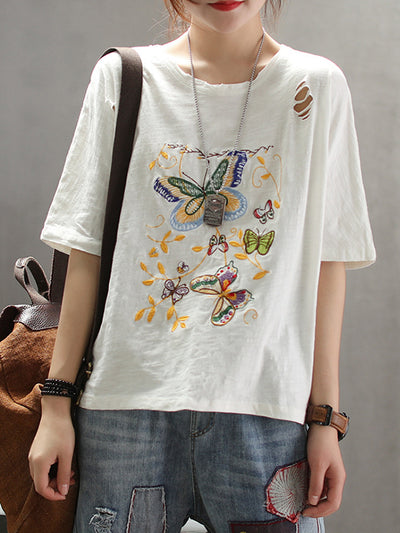 Khloe Butterfly Embroidery T-Shirt