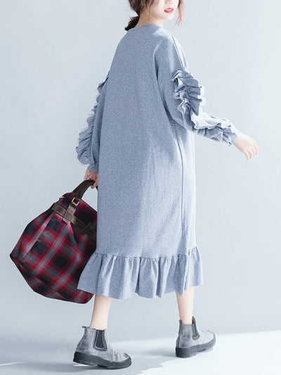Valari Ruffled-Sleeve Sweatshirt Dress