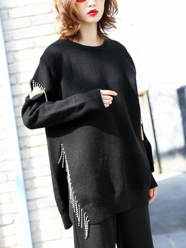 Sonia Solid Black Rhinestone Pullover Sweatshirt with Ripped Slide Sleeves