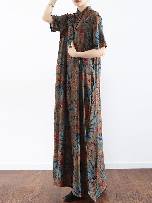 Tropical Summer With Exotic Leaves Stand Collar Maxi Dress