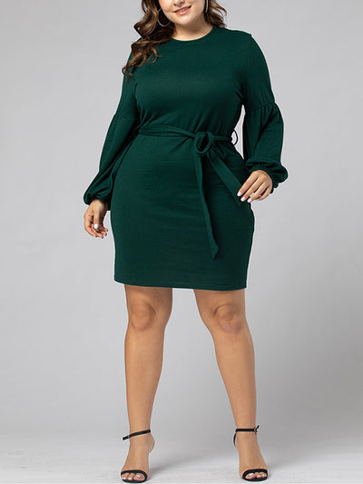 Patchwork Sleeve Green Knitted Plus Dress