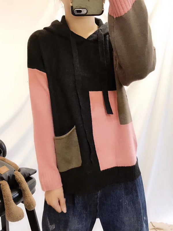 Color Block Full-Sleeve Cotton Sweater Top