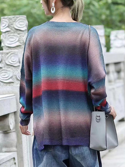 Color Block Printed Striped Sweater