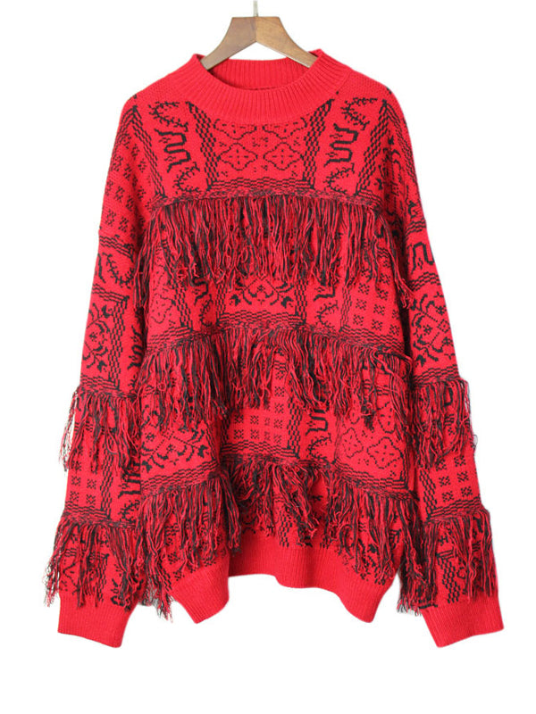 Ashley Round Neck Thicken Tassels Sweater Top with Geometric Jacquard