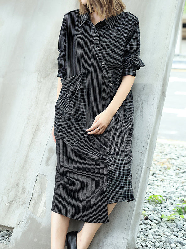 Lydia Asymmetric Single Breasted Pocket Shirt Dress with Stripes Prints