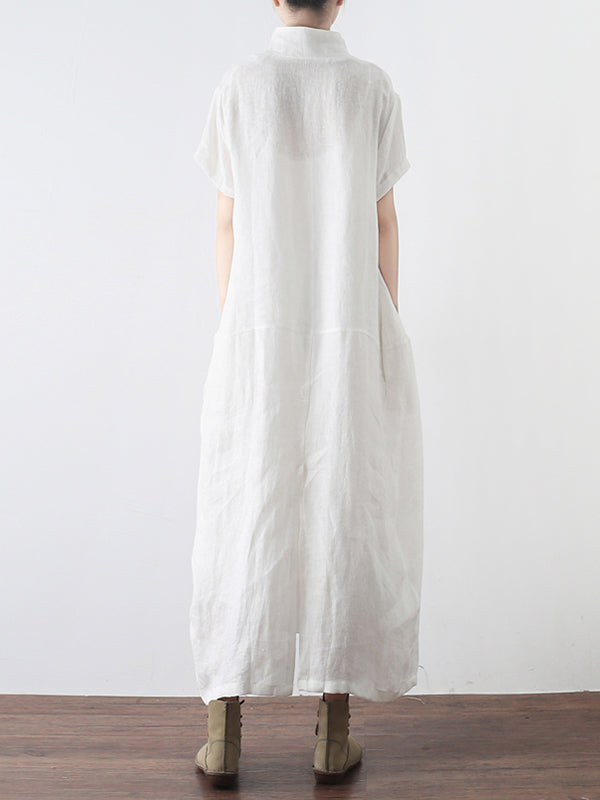Melansay Standing Neck Linen Shirt Dress