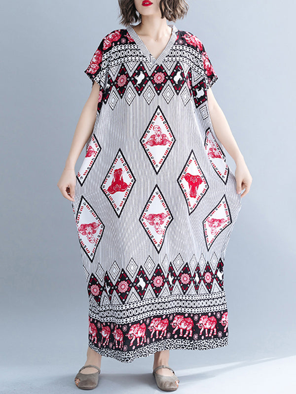 Summer Diaper Ethnic Print Plus Size Kaftan Dress