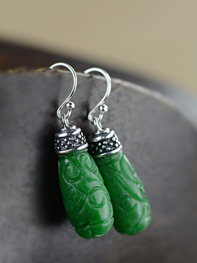 Tara Inlay Silver Jade Earrings with Vintage Carvings