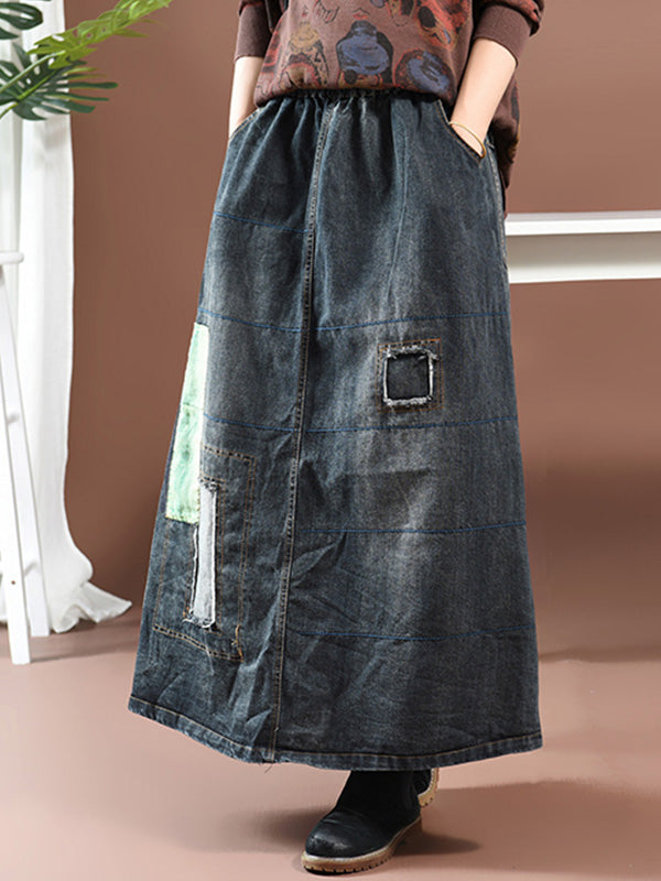 Vintage Denim Skirt with Printing