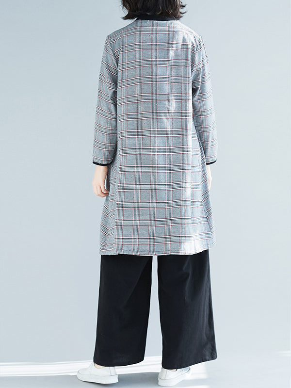 Mia Contrasting Stand Collar Classic Plaid Print Baggy Cotton Shirt