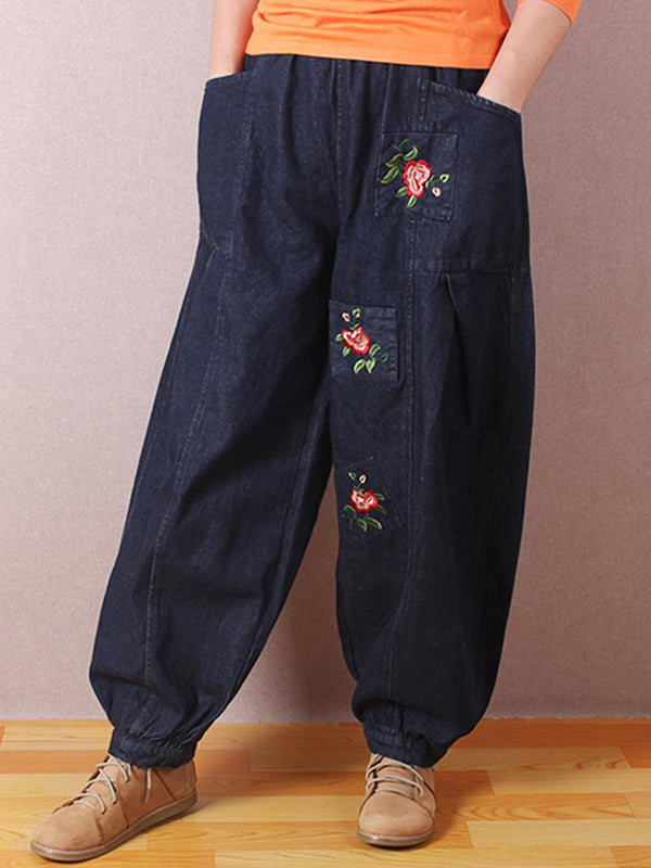 Rose Embroidered Baggy Denim Pant