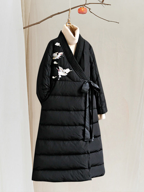 Josephine V Neck Ethnic Quilted Down Overcoat with Gray Duck Prints