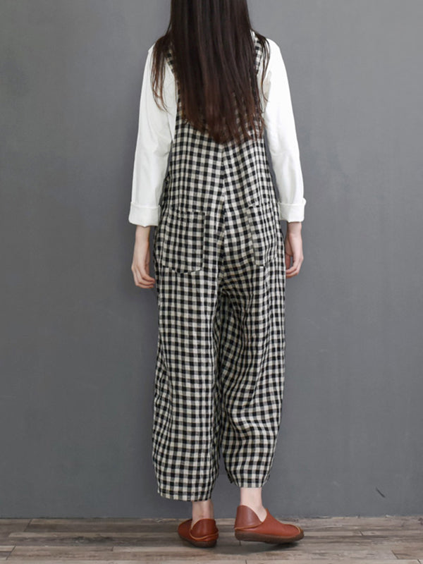 Bricks Plaid Wide-Leg Overalls