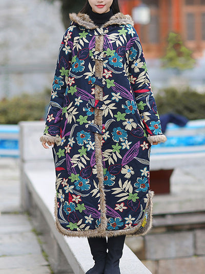 Floral Printed Hooded Cotton Coat