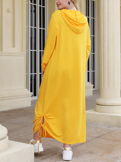 Solid Color Plus Size Hooded Maxi Dress
