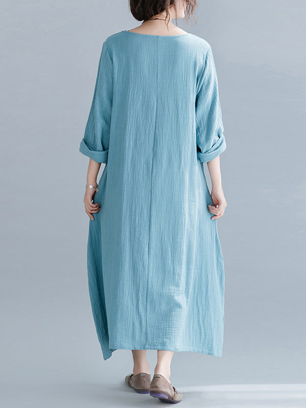Take Me Away Plain Linen A-Line Dress